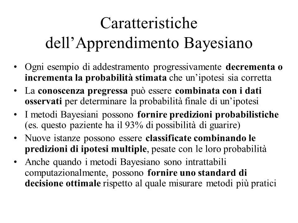 Caratteristiche dellApprendimento Bayesiano Ogni esempio di addestramento progressivamente decrementa o incrementa la probabilità stimata che unipotes