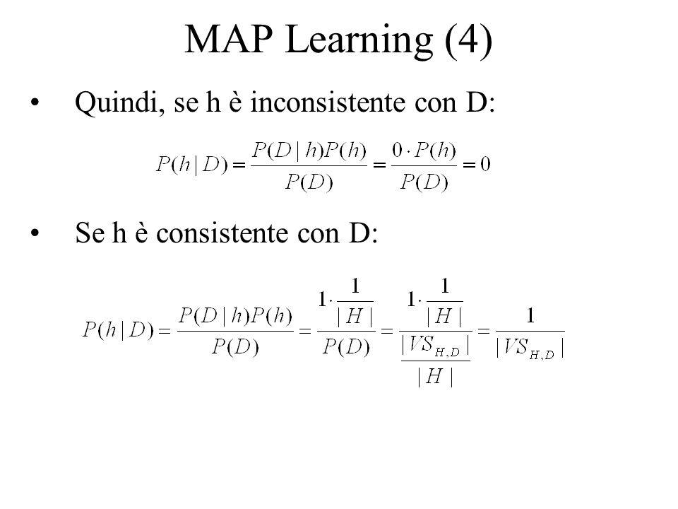 MAP Learning (5) Per concludere, il teorema di Bayes implica che la probabilità a posteriori P(h|D) date le nostre assunzioni di distribuzione uniforme delle ipotesi h su H (per calcolare P(h)) e assenza derrore (per P(D|h)) è: Ovvero qualsiasi ipotesi consistente h appresa da un apprendista ha probabilità a posteriori 1/|VS H,D |, ovvero è una ipotesi MAP Il teorema di Bayes ci aiuta a caratterizzare le assunzioni implicite in un modello di apprendimento (ad es.