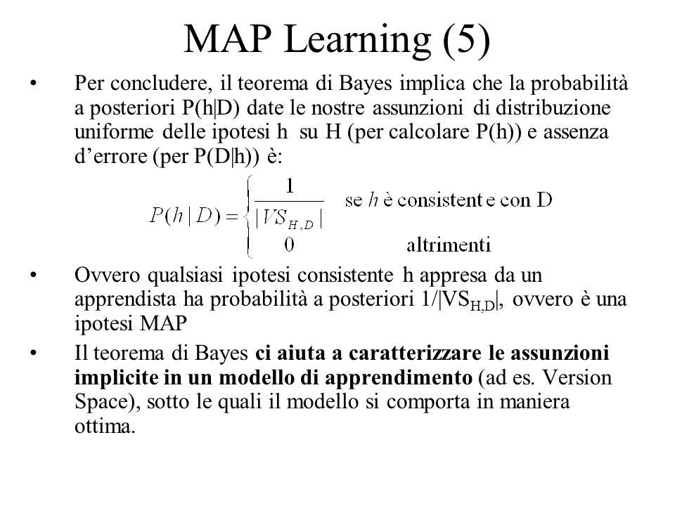 Maximum Likelihood learning Supponiamo di trovarci in una situazione più complessa, e più realistica: –Dobbiamo apprendere una funzione obiettivo c che assume valori in, nel continuo –Il campione di addestramento produce errori, cioè: D = { (x i,d i )} d i =c(x i )+e i, dove e i è una variabile aleatoria estratta indipendentemente per ogni x i secondo una distribuzione gaussiana con media zero (errore) Quale è lipotesi massimamente probabile (ML).