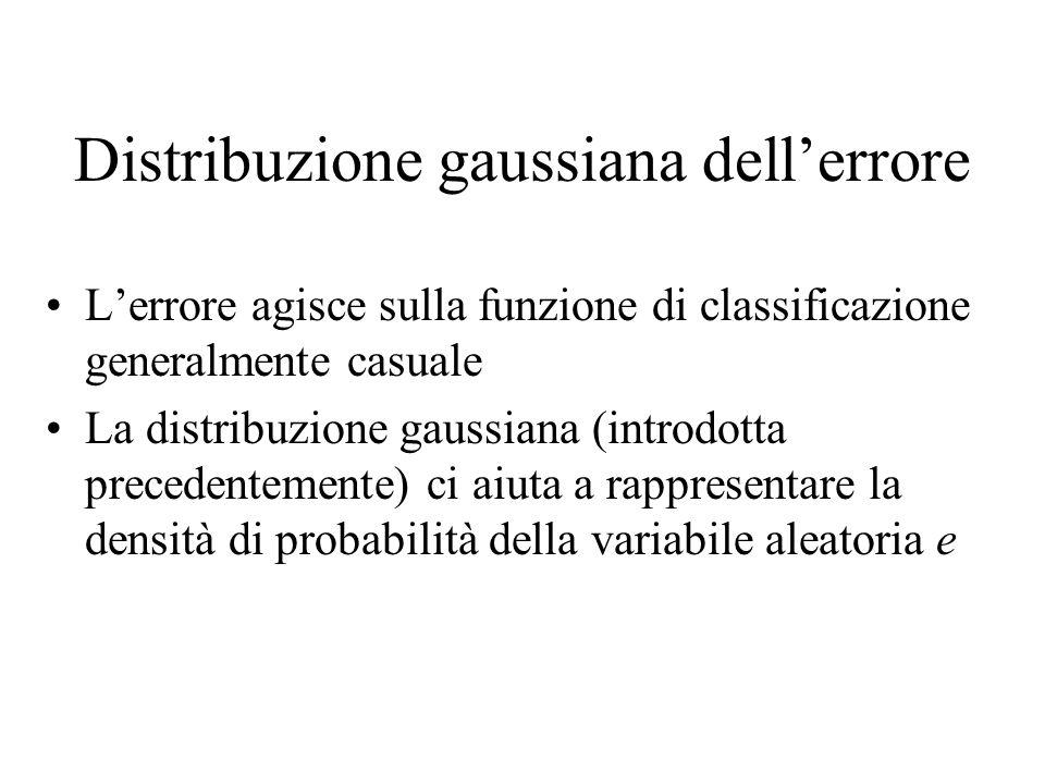 Distribuzione gaussiana dellerrore Lerrore agisce sulla funzione di classificazione generalmente casuale La distribuzione gaussiana (introdotta preced