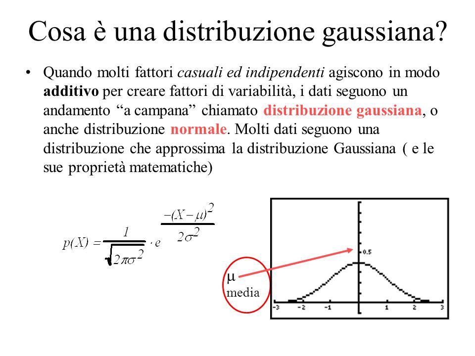 Cosa è una distribuzione gaussiana? Quando molti fattori casuali ed indipendenti agiscono in modo additivo per creare fattori di variabilità, i dati s