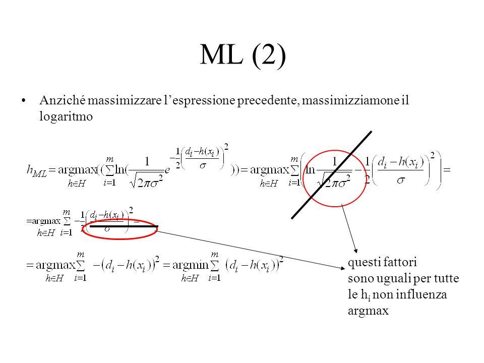 ML (3) Dunque, lipotesi massimamente probabile h ML è quella che minimizza la somma degli errori quadratici (dellipotesi stessa): d i =c(x i )+e i =h(x i )+e i Lipotesi sottostante è: esempi in D estratti indipendentemente, distribuzione gaussiana dellerrore Problema: considera solo errori di classificazione (c(x i )), non errori nei valori degli attributi degli x i in D