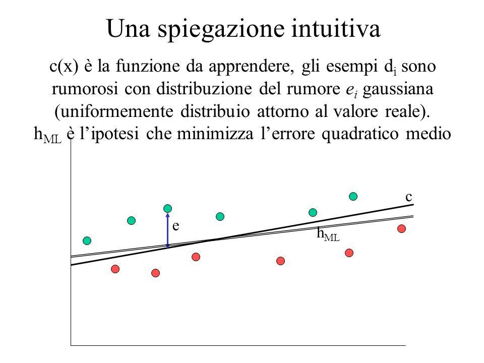 ML e MAP servono a caratterizzare in termini di probabilità il problema dellapprendimento di una ipotesi, ovvero: Qual è lipotesi più probabile dato linsieme daddestramento D?