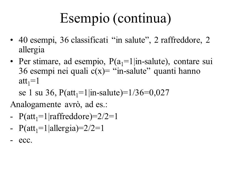 Esempio (continua) 40 esempi, 36 classificati in salute, 2 raffreddore, 2 allergia Per stimare, ad esempio, P(a 1 =1|in-salute), contare sui 36 esempi