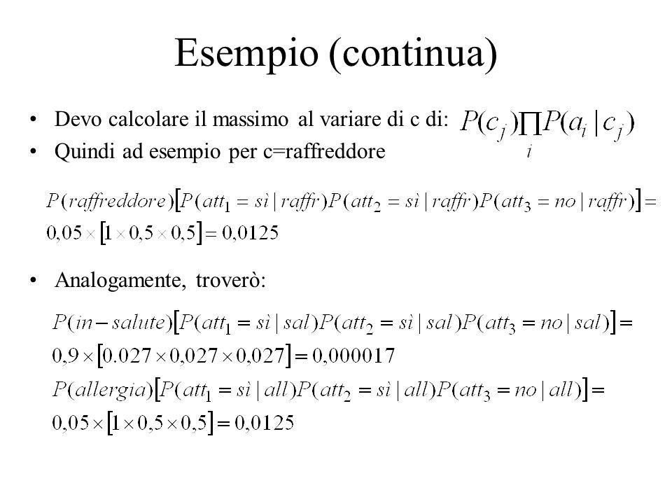 Devo calcolare il massimo al variare di c di: Quindi ad esempio per c=raffreddore Analogamente, troverò: Esempio (continua)