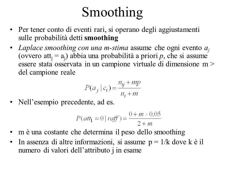 Smoothing Per tener conto di eventi rari, si operano degli aggiustamenti sulle probabilità detti smoothing Laplace smoothing con una m-stima assume ch