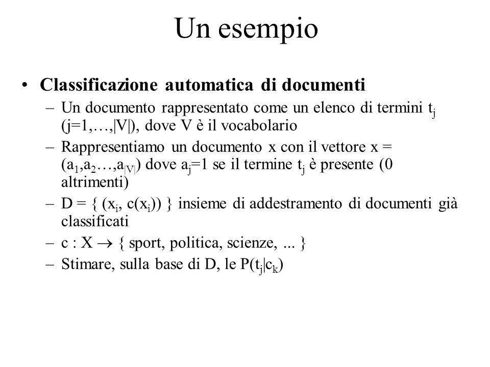 Un esempio Classificazione automatica di documenti –Un documento rappresentato come un elenco di termini t j (j=1,…,|V|), dove V è il vocabolario –Rap