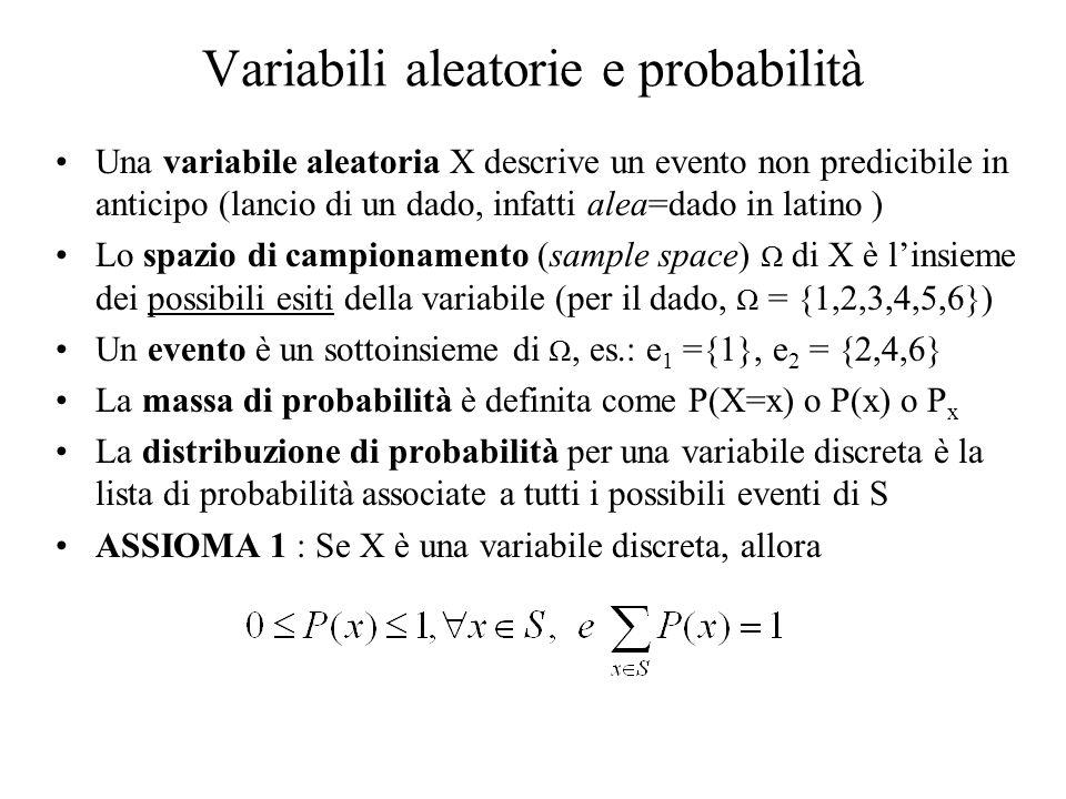 Variabili aleatorie e probabilità Una variabile aleatoria X descrive un evento non predicibile in anticipo (lancio di un dado, infatti alea=dado in la