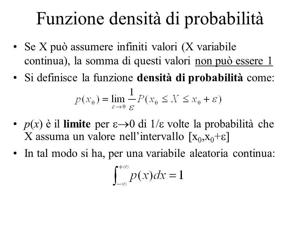 Funzione densità di probabilità Se X può assumere infiniti valori (X variabile continua), la somma di questi valori non può essere 1 Si definisce la f