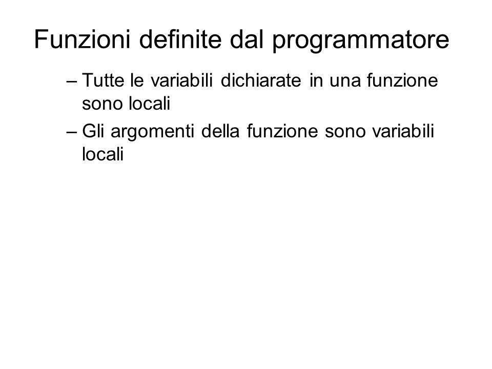 Funzioni definite dal programmatore –Tutte le variabili dichiarate in una funzione sono locali –Gli argomenti della funzione sono variabili locali