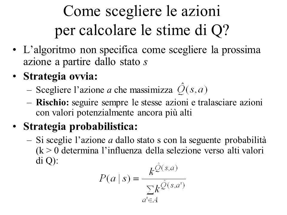 Come scegliere le azioni per calcolare le stime di Q? Lalgoritmo non specifica come scegliere la prossima azione a partire dallo stato s Strategia ovv