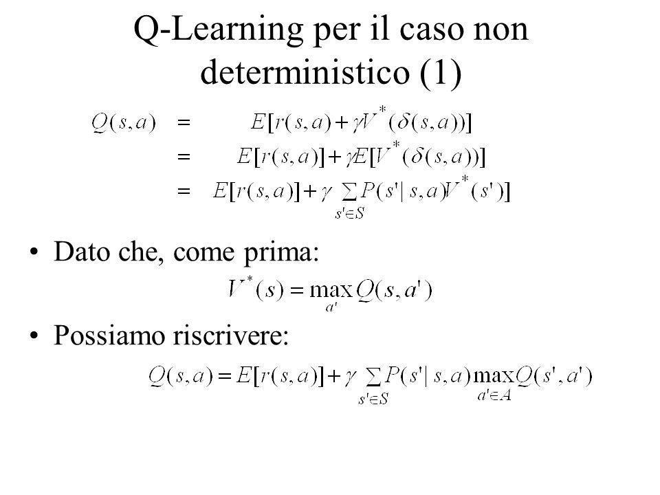 Q-Learning per il caso non deterministico (1) Dato che, come prima: Possiamo riscrivere: