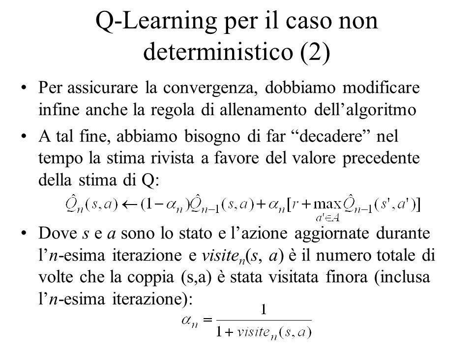 Q-Learning per il caso non deterministico (2) Per assicurare la convergenza, dobbiamo modificare infine anche la regola di allenamento dellalgoritmo A