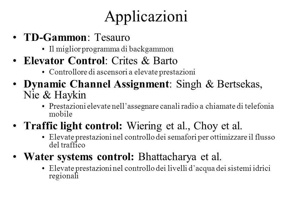 Applicazioni TD-Gammon: Tesauro Il miglior programma di backgammon Elevator Control: Crites & Barto Controllore di ascensori a elevate prestazioni Dyn