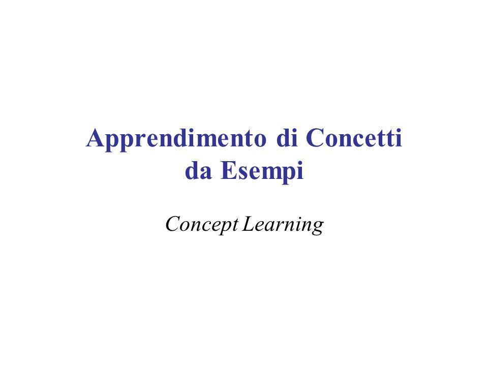 Che cosè lapprendimento di concetti Inferire una funzione booleana (funzione obiettivo o concetto) a partire da esempi di addestramento dati da coppie (input, output) della funzione stessa –Indicata con c o f c : X { 0, 1 } X è linsieme delle istanze del dominio x X è una generica istanza Linsieme di addestramento D è un insieme di coppie (x, c(x)) X×{ 0, 1 } dove: –x è un esempio positivo se c(x) = 1, negativo altrimenti