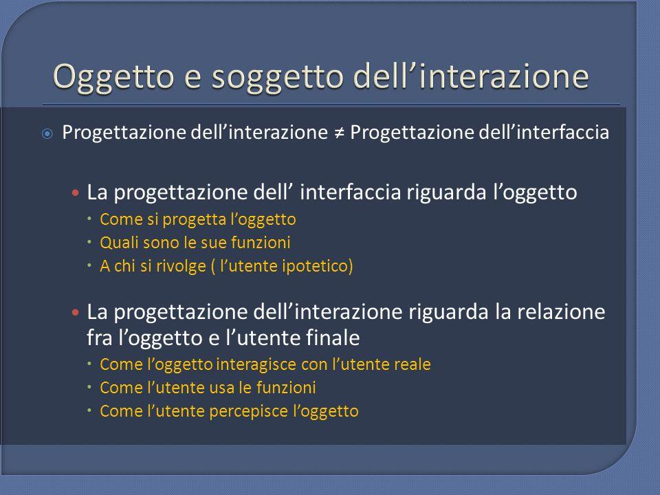 Progettazione dellinterazione Progettazione dellinterfaccia La progettazione dell interfaccia riguarda loggetto Come si progetta loggetto Quali sono l