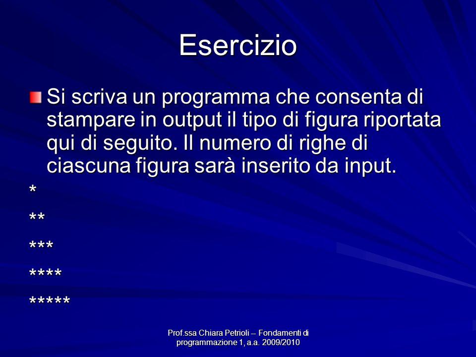 Prof.ssa Chiara Petrioli -- Fondamenti di programmazione 1, a.a. 2009/2010 Esercizio Si scriva un programma che consenta di stampare in output il tipo