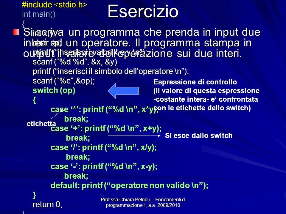Prof.ssa Chiara Petrioli -- Fondamenti di programmazione 1, a.a. 2009/2010 Esercizio Si scriva un programma che prenda in input due interi ed un opera
