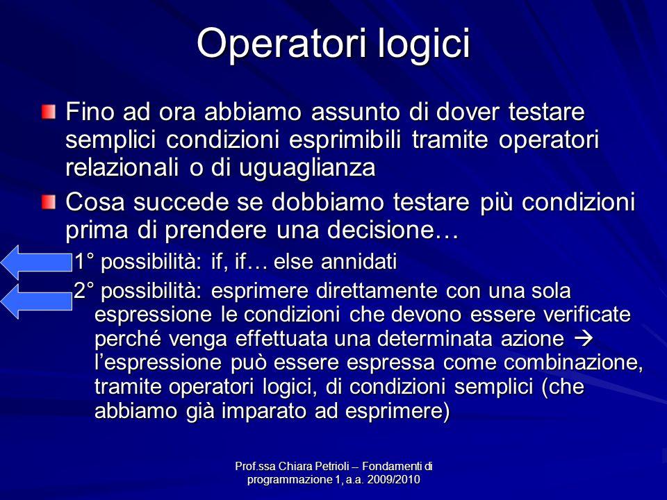 Prof.ssa Chiara Petrioli -- Fondamenti di programmazione 1, a.a. 2009/2010 Operatori logici Fino ad ora abbiamo assunto di dover testare semplici cond