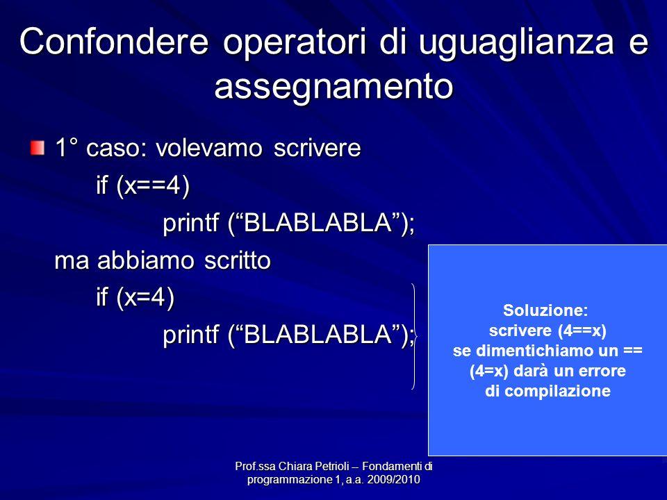 Prof.ssa Chiara Petrioli -- Fondamenti di programmazione 1, a.a. 2009/2010 Confondere operatori di uguaglianza e assegnamento 1° caso: volevamo scrive