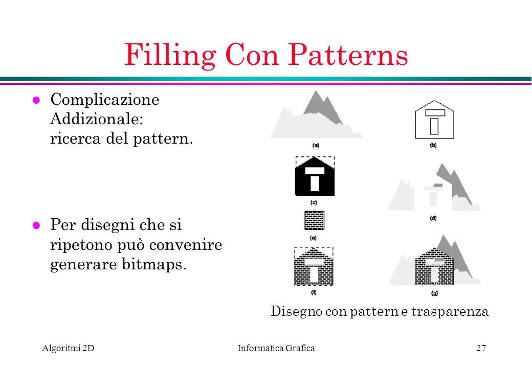 Informatica Grafica Algoritmi 2D27 Filling Con Patterns l Complicazione Addizionale: ricerca del pattern. l Per disegni che si ripetono può convenire