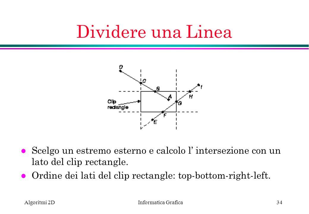 Informatica Grafica Algoritmi 2D34 Dividere una Linea l Scelgo un estremo esterno e calcolo l intersezione con un lato del clip rectangle. l Ordine de