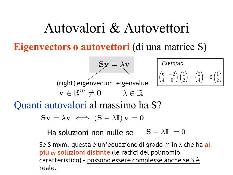 Autovalori & Autovettori Ha soluzioni non nulle se Se S mxm, questa è unequazione di grado m in λ che ha al più m soluzioni distinte (le radici del po