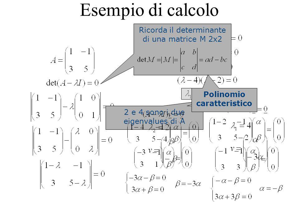 Esempio di calcolo Ricorda il determinante di una matrice M 2x2 2 e 4 sono i due eigenvalues di A Polinomio caratteristico