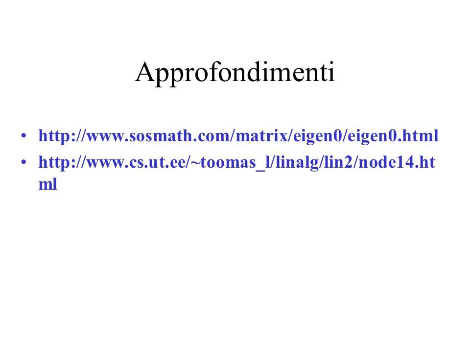 Approfondimenti http://www.sosmath.com/matrix/eigen0/eigen0.html http://www.cs.ut.ee/~toomas_l/linalg/lin2/node14.ht ml