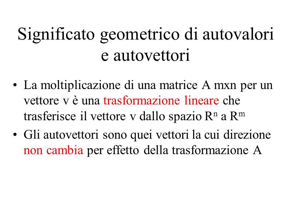 Significato geometrico di autovalori e autovettori La moltiplicazione di una matrice A mxn per un vettore v è una trasformazione lineare che trasferis