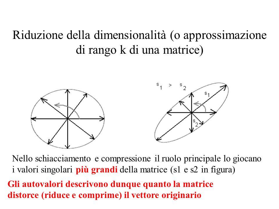 Riduzione della dimensionalità (o approssimazione di rango k di una matrice) Nello schiacciamento e compressione il ruolo principale lo giocano i valo