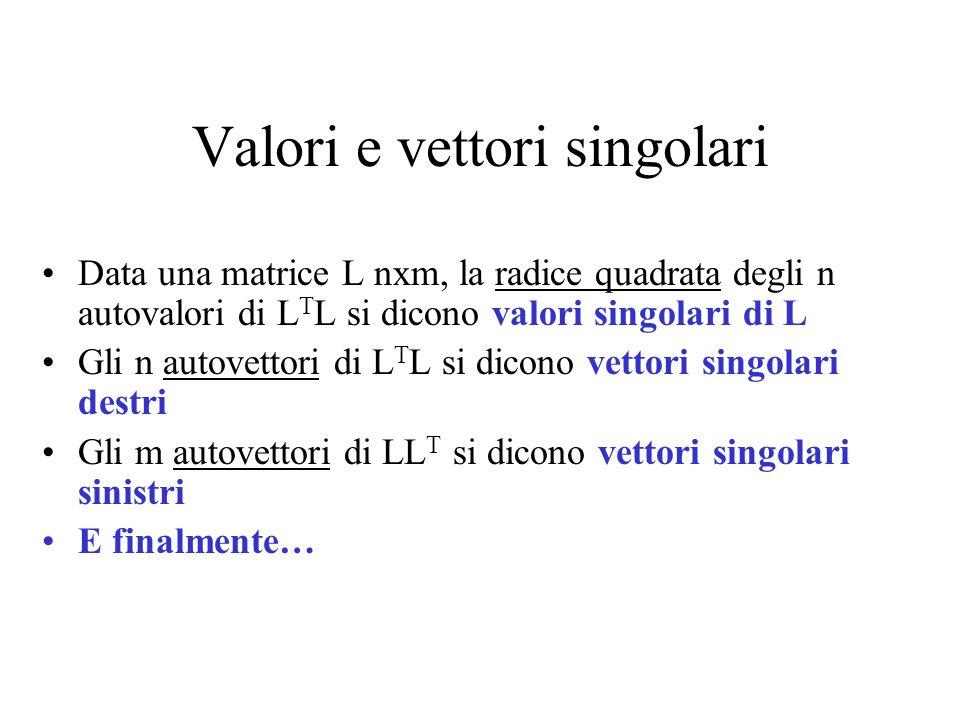 Valori e vettori singolari Data una matrice L nxm, la radice quadrata degli n autovalori di L T L si dicono valori singolari di L Gli n autovettori di
