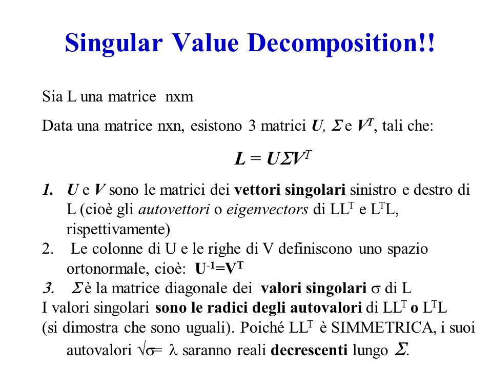 Singular Value Decomposition!! Sia L una matrice nxm Data una matrice nxn, esistono 3 matrici U, e V T, tali che: L = U V T 1.U e V sono le matrici de