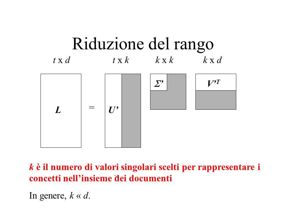 Riduzione del rango L = t x dt x kk x dk x k k è il numero di valori singolari scelti per rappresentare i concetti nellinsieme dei documenti In genere