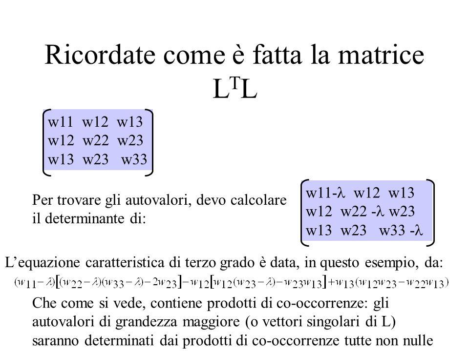 Ricordate come è fatta la matrice L T L w11 w12 w13 w12 w22 w23 w13 w23 w33 Per trovare gli autovalori, devo calcolare il determinante di: w11- w12 w1