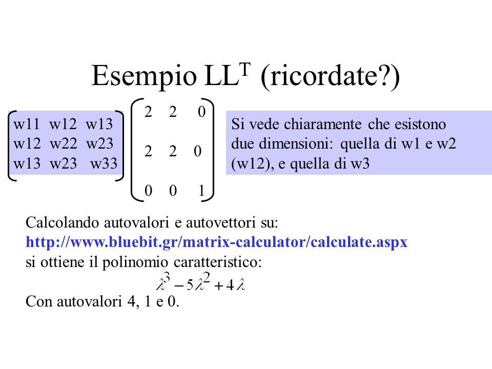 Esempio LL T (ricordate?) 2 2 0 0 0 1 Si vede chiaramente che esistono due dimensioni: quella di w1 e w2 (w12), e quella di w3 w11 w12 w13 w12 w22 w23