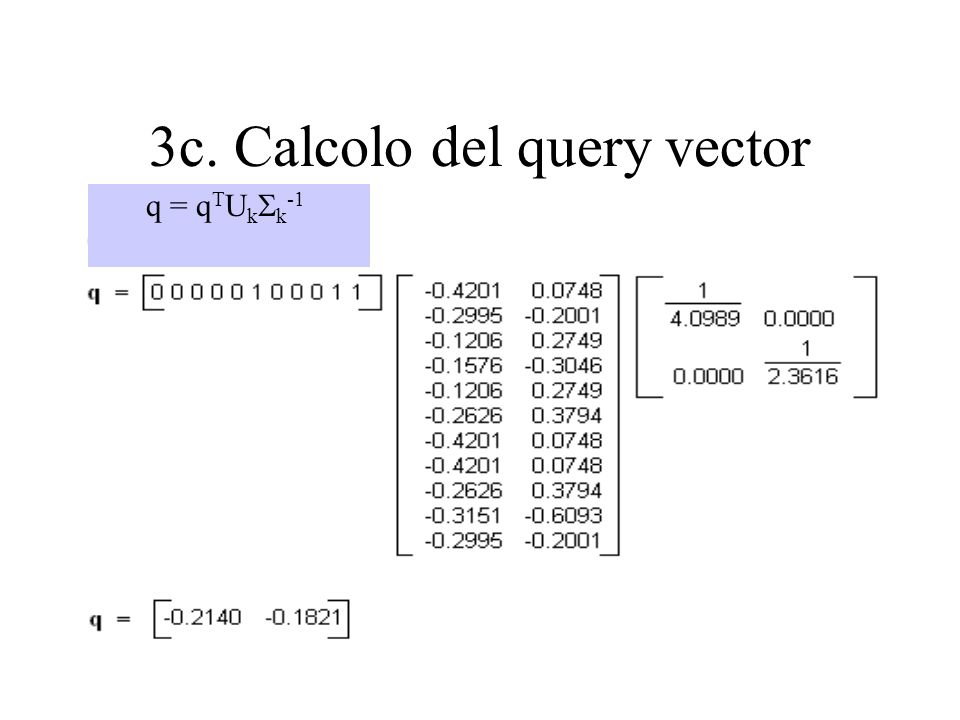 3c. Calcolo del query vector q = q T U k k -1