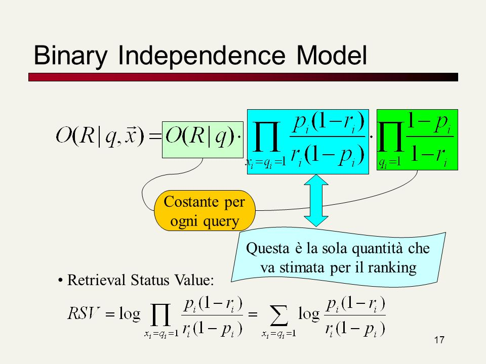 18 Binary Independence Model Tutto si riduce a stimare RSV.