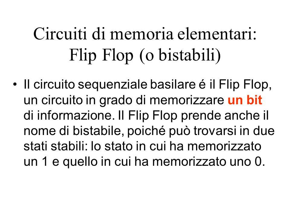 Circuiti di memoria elementari: Flip Flop (o bistabili) Il circuito sequenziale basilare é il Flip Flop, un circuito in grado di memorizzare un bit di