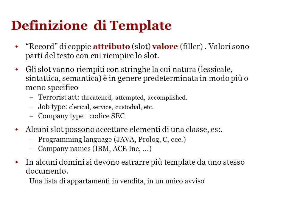 Architettura di un sistema di IE Riempimento dei templates Definizione template Templates (unfilled) Analisi dei testi: POS, NE recognition, .