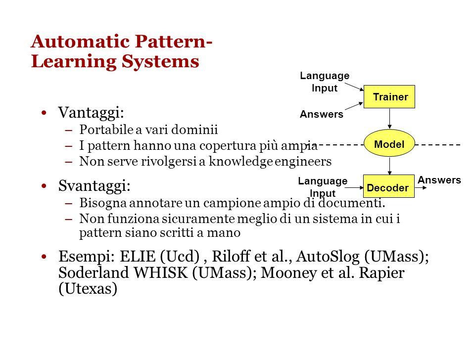 Apprendimento automatico di pattern per IE Laspetto più critico in IE è la scrittura di pattern specifici per ogni dominio e template Scrivere delle r