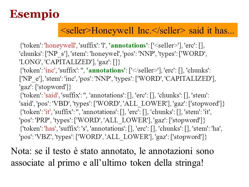 ELIE: caratterizzazione del testo Features utilizzate: –Token: una singola parola o punteggiatura –POS: il part-of-speech di quel token –Gaz: la categ