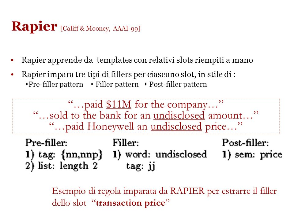 ELIE: maggiori dettagli http://www.aidanf.net/so ftware/elie-an-adaptive- information-extraction- system http://www.aidanf.net/so ftware/elie-an-adapt