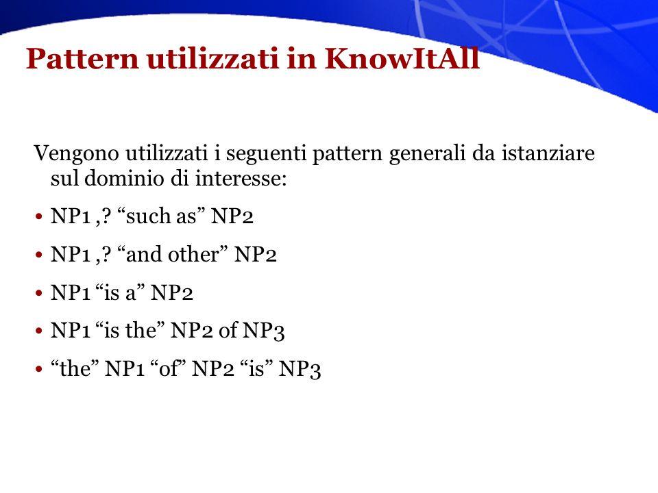 Estrazione di fatti su larga scala: KnowItAll [Etzioni et al. 2005] Il primo sistema che estrae fatti da pagine Web in modo: –Non supervisionato –Indi