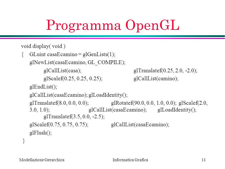 Informatica Grafica Modellazione Gerarchica11 Programma OpenGL void display( void ) {GLuint casaEcamino = glGenLists(1); glNewList(casaEcamino, GL_COM