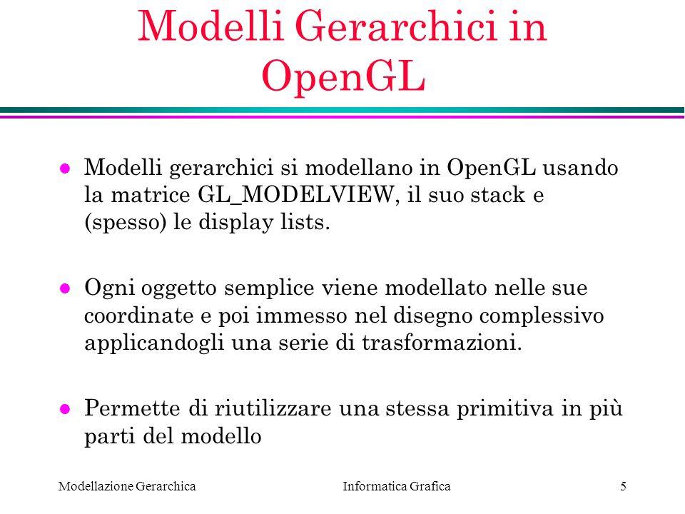 Informatica Grafica Modellazione Gerarchica16 Programma Robot (2) void init(void) { glClearColor (0.0, 0.0, 0.0, 0.0); glShadeModel (GL_FLAT); } void display(void) { glClear (GL_COLOR_BUFFER_BIT); glPushMatrix();glTranslatef (-1.0, 0.0, 0.0); glRotatef ((GLfloat) shoulder, 0.0, 0.0, 1.0); glTranslatef (1.0, 0.0, 0.0);glPushMatrix(); glScalef (2.0, 0.4, 1.0);glutWireCube (1.0); glPopMatrix();glTranslatef (1.0, 0.0, 0.0); glRotatef ((GLfloat) elbow, 0.0, 0.0, 1.0); glTranslatef (1.0, 0.0, 0.0);glPushMatrix(); glScalef (2.0, 0.4, 1.0);glutWireCube (1.0); glPopMatrix();glPopMatrix(); glutSwapBuffers();}
