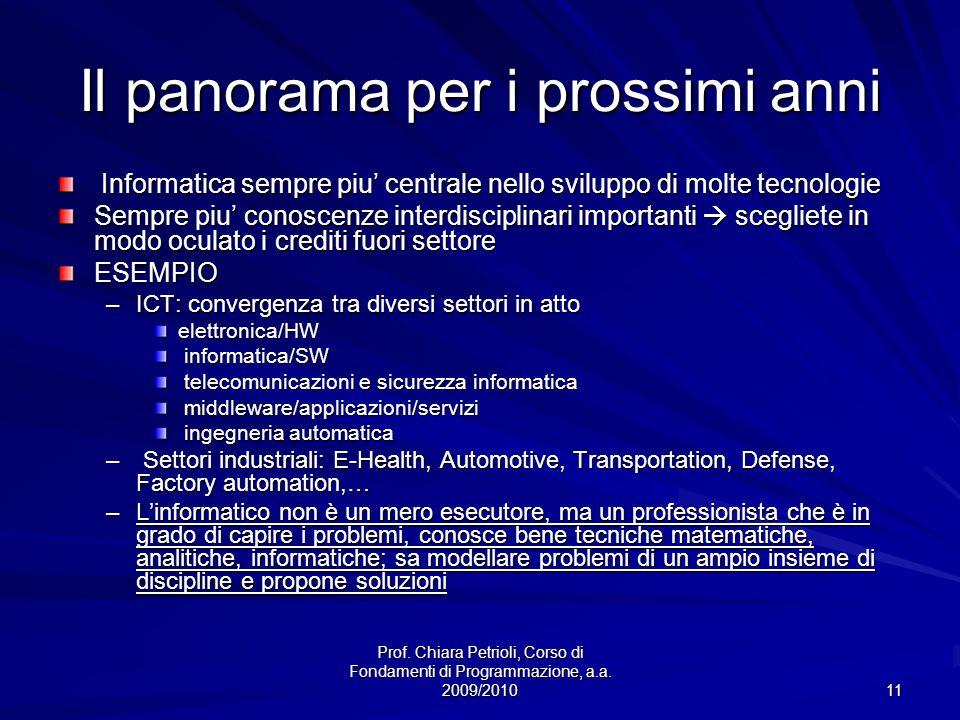 Prof. Chiara Petrioli, Corso di Fondamenti di Programmazione, a.a. 2009/2010 11 Il panorama per i prossimi anni Informatica sempre piu centrale nello