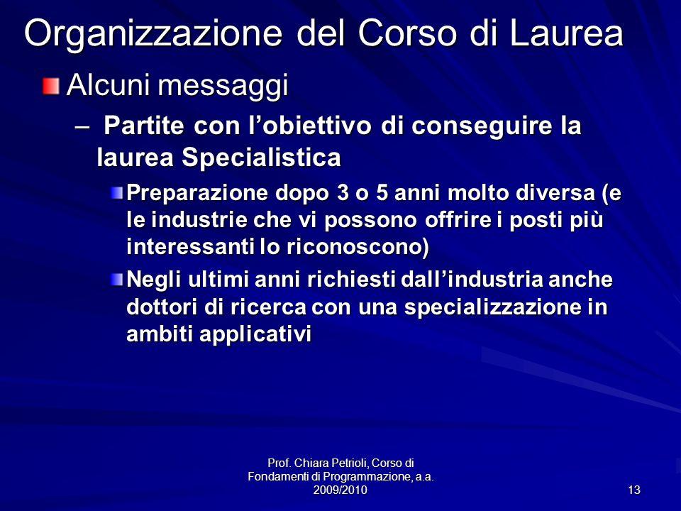 Prof. Chiara Petrioli, Corso di Fondamenti di Programmazione, a.a. 2009/2010 13 Organizzazione del Corso di Laurea Alcuni messaggi – Partite con lobie
