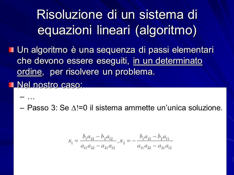 Prof. Chiara Petrioli, Corso di Fondamenti di Programmazione, a.a. 2009/2010 19 Risoluzione di un sistema di equazioni lineari (algoritmo) Un algoritm