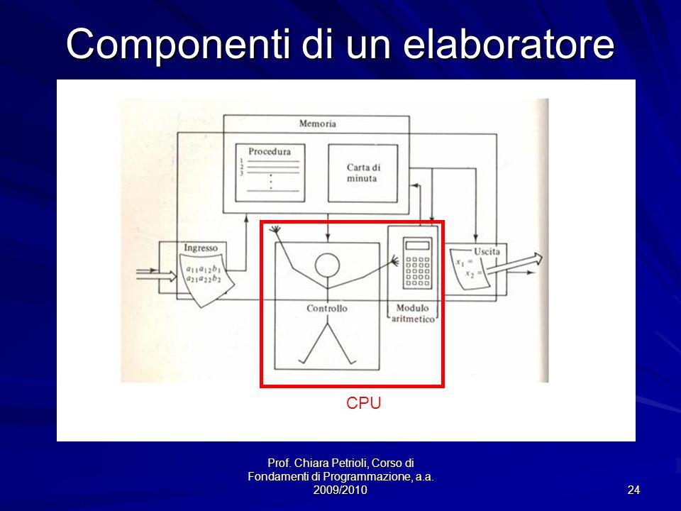 Prof. Chiara Petrioli, Corso di Fondamenti di Programmazione, a.a. 2009/2010 24 Componenti di un elaboratore CPU